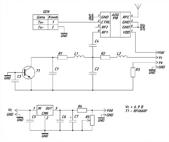 Схема передатчика хаотических сигналов