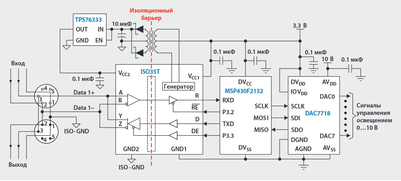 DMX512 физический уровень RS485