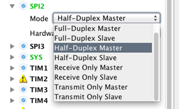 Как выбрать режим работы SPI в CubeMX