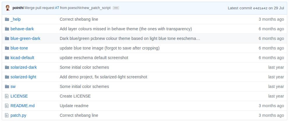 kicad color schemes repository